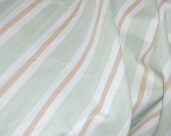 Green Striped Fabric by the Yard, Green and White Striped Fabric
