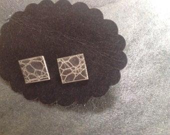 Silver web stud earrings