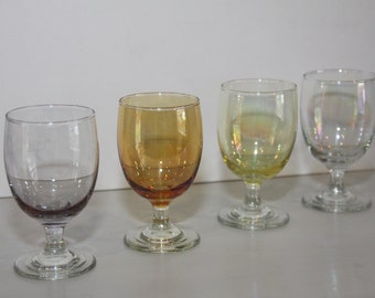4 Beautiful vintage sherry glasses with iridescent finish
