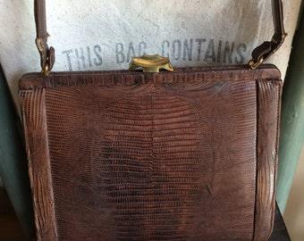 Vintage Palizzio Brown Alligator Purse Snake Skin Lizard Pocketbook Handbag Old