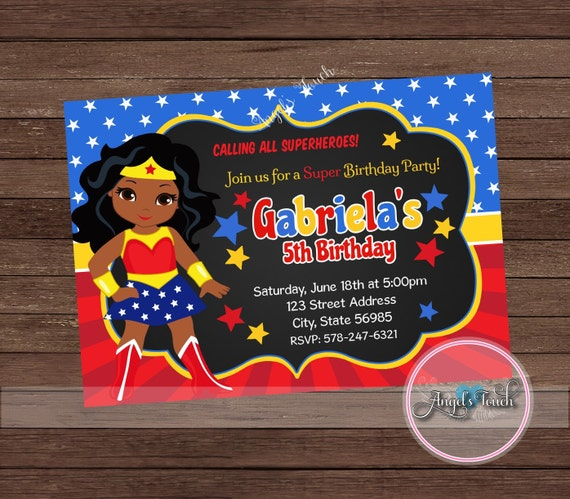 African American Wonder Woman Party Invitation African