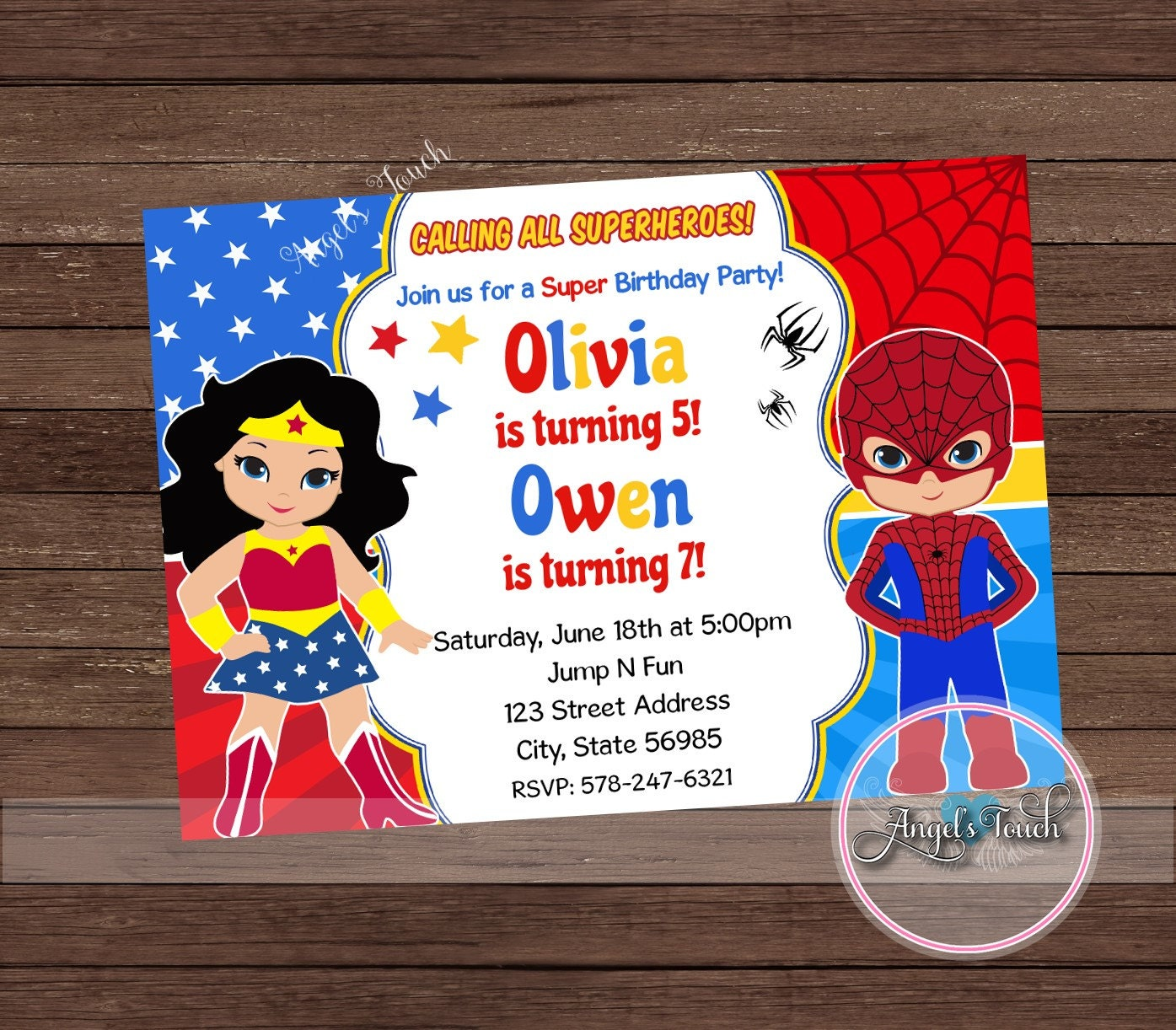Wonder Woman and Spiderman Party Invitation, Wonder Woman and ...