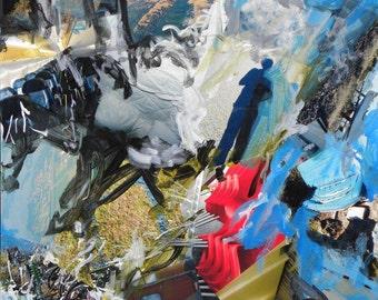 """Horse Rider original Mixed Media Collage, 30"""" x 30"""""""