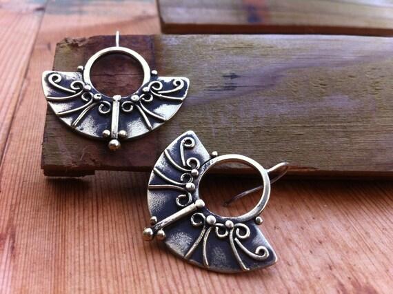 fan hoop earrings sterling silver and brass earrings