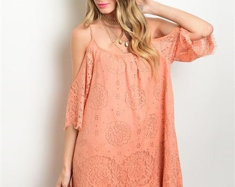 Open shoulder coral dress!