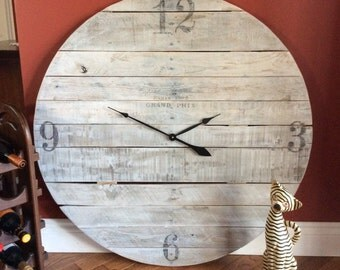 Custom build, reclaimed wood, large clocks