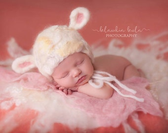 newborn sitter felted lamb hat photography prop