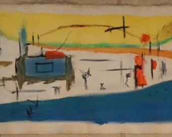 Abstract oil painting in primary colors, powerful images of street life