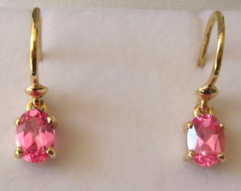 Genuine SOLID 9K 9ct YELLOW GOLD October Birthstone Tourmaline Earrings