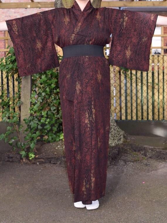 Vintage kimono wood pattern silk EV41
