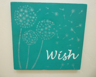 Dandelion, Rustic, Wish Wood Sign, Shabby Chic, Farmhouse, French Country, Cottage Chic, Dandelion Wood Sign
