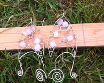 Adjustable Rose quartz and silver colored copper pixie/elf/elp/fairy wire wrap ear cuffs (FITS ANY EAR)