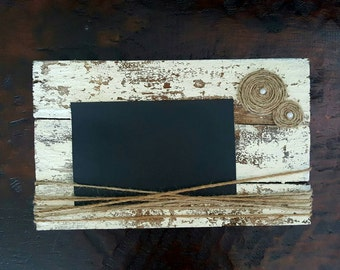 Rustic Wood Picture Frame Shabby Chic Picture Frame Wood Picture Frame Chalk Paint Twine Distressed Picture Frame Wedding Gift