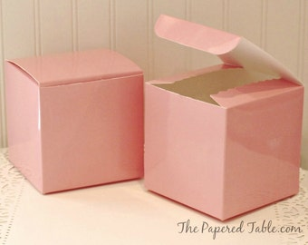 Favor Box, Pink Box, 4 X 4 Favor Box, Cupcake Box, Wedding Favors, Baby Shower Favor, Pink Party Favor Boxes, Candy Box, Gift Box, Birthday