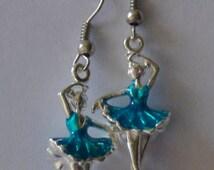 Silver Ballerina Earrings - Turquoise Ballerina Earrings - Recital Gifts - Ballerina Gifts - Silver Jewelry