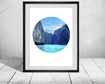 Blue Circle Landscape Print, Minimalist, Modern, Large