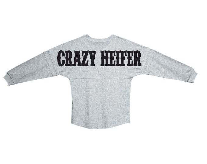 Oversized Pom Pom Jersey Grey Crazy Heifer | Made in the USA