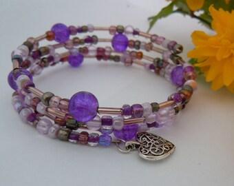 Beautiful handmade Purple Bead bracelet