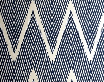 Navy Pillow Cover, Blue Pillow, Chevron, Ivory, Beige, Geometric, Abstract, Throw Pillow, Modern, SummerHome, Blue and Ivory