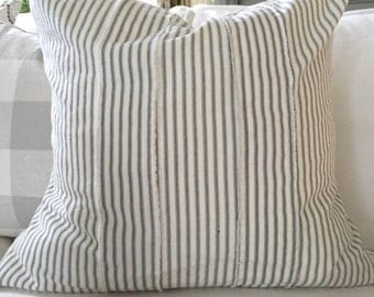Pillow Cover, Gray Ticking Stripe, Frayed Strips