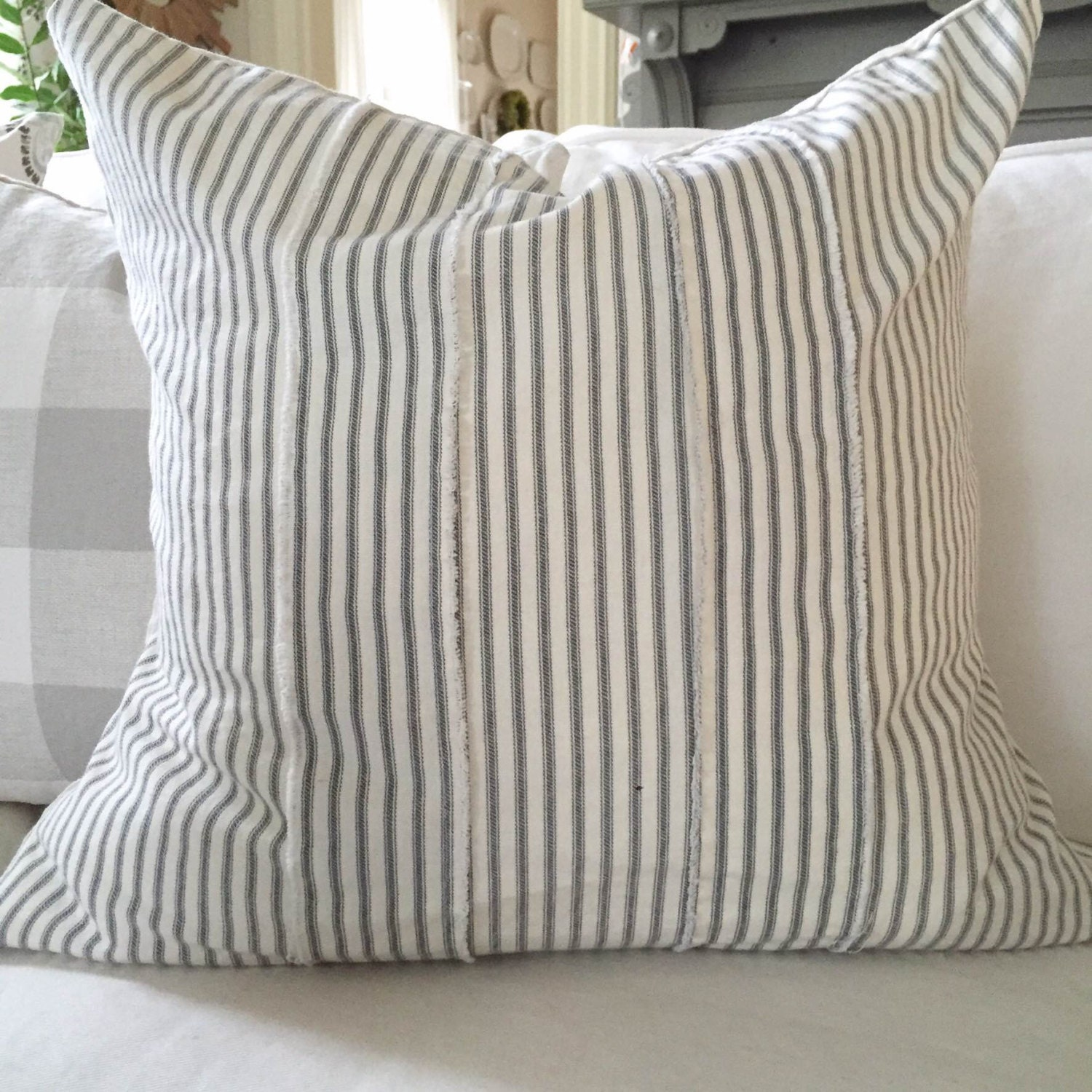 Pillow Cover Gray Ticking Stripe Frayed Strips