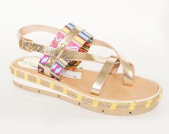 Kallisto Ethnic Gold Leather Sandals