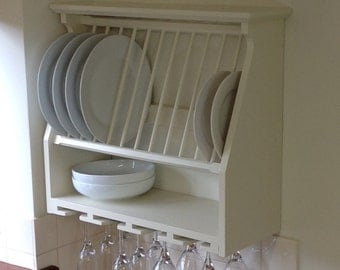 Plate Rack with Wine Glass Rack. Hand Made. Solid Wood. Painted or Natural Wood Finish