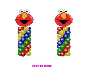 ELMO Sesame Street Birthday Balloons, Elmo Party Decorations, DIY KIT easy to assemble, Elmo Balloon Column, Elmo Birthday Decorations