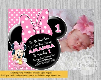 Cute Baby Minnie Mouse Birthday Invitations, Baby Minnie 1st Birthday Photo Party Invitations, DIY Printable, Baby Minnie Party Supplies