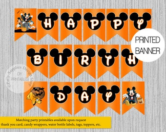 printed mickey mouse happy birthday banner mickey halloween party decorationshalloween mickey and pals