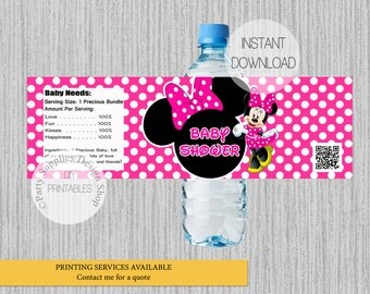 Hot Pink Minnie Mouse Baby Shower Water Bottle Labels, INSTANT DOWNLOAD,  Minnie Mouse Water Bottle Wrappers, DIY Printables Party Supplies