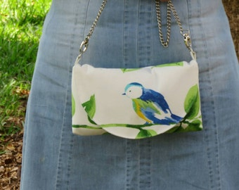 Bird clutch purse - floral bird handbag - nature lover bird purse - summer purse - Bird Lover Bag - blue bird purse