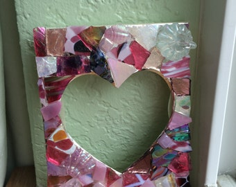 Pink hand blown mosaic glass picture frame