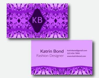 purple business card etsy