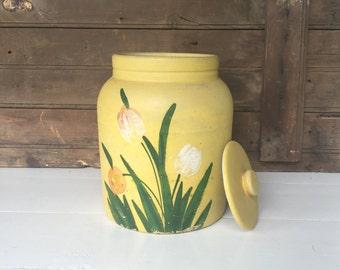 Vintage Painted Cookie Jar Crock, Crock, Stoneware, Farmhouse Decor, Cottage Chic