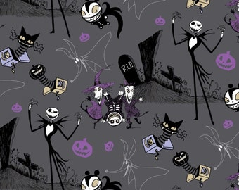 "Disney Fabric - Nightmare Before Christmas Fabric - Jack In The Box 100% cotton fabric 44"" wide, SC612"
