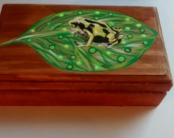 Poison dart frog, hand painted,nature, gift under 25