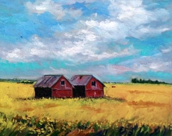 "Original Oil Painting, Field landscape Canada, 16""x20"", 1609224"