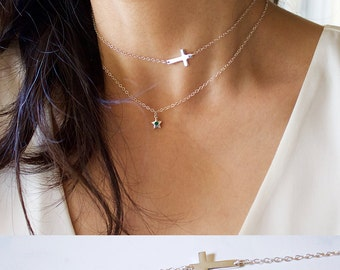Cross  Necklace//Cross Choker Necklace// Cross Sideways Necklace// Celebrity sideway Cross Necklace//Everyday // Sterling Silver// Gold