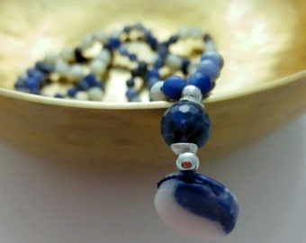 Mala necklace of Sodalite/Rose Quartz and mother-of-Pearl