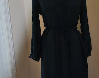 Vintage Lanvin Sheer Embroidered Blue Dress