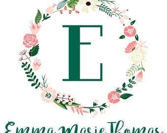 Custom Nursery Canvas Art, Monogram Canvas Art, Personalized Nursery Wall Art, Nursery Floral Wreath, Floral Baby Monogram, 11 x 11 Canvas