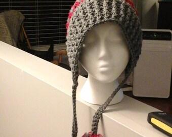 Crochet  pom pom slouchy hat  adult/teen