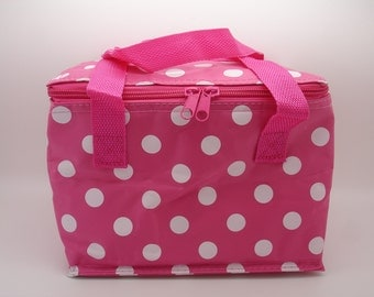 Polka dot insulated thermal cool bag ideal for packed lunches, snacks, picnics - five retro colours available
