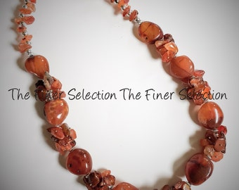 glass beaded necklace in burnt sienna color