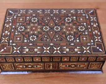 Jewelry Box, Multipurpose wooden Box, mother of pearl, Syrian mosaic, wood box, marquetry wood box