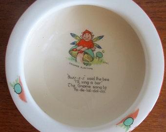 Vintage Kensington Ware baby's feeding dish, Gnomes Playtime