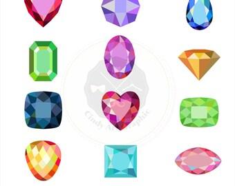 Gem Cuts Set Clipart,gem clipart,diamond clipart,jewel clipart,digital download