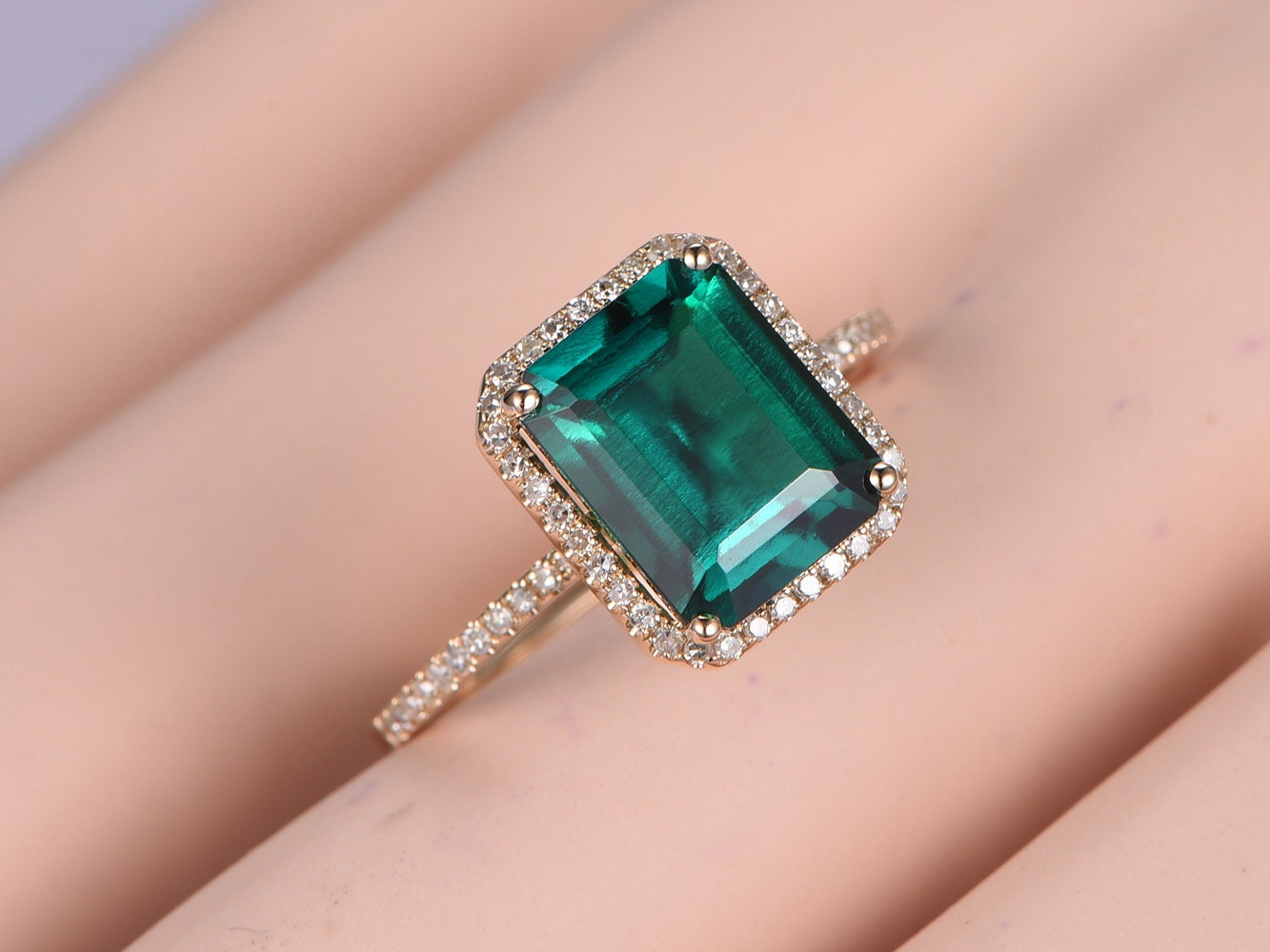 10x8mm Emerald Diamond Ring,Engagement Ring,Diamond Wedding Band,14k ...