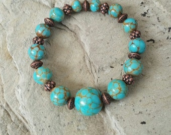 Turquoise and copper stretch bracelet